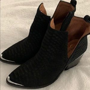 Cromwell black suede snake ankle booties